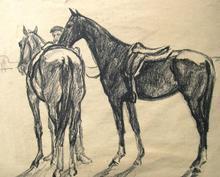 Karl SCHELD (1895-1936) - [zwei gesattelte Pferde mit einem Mann]