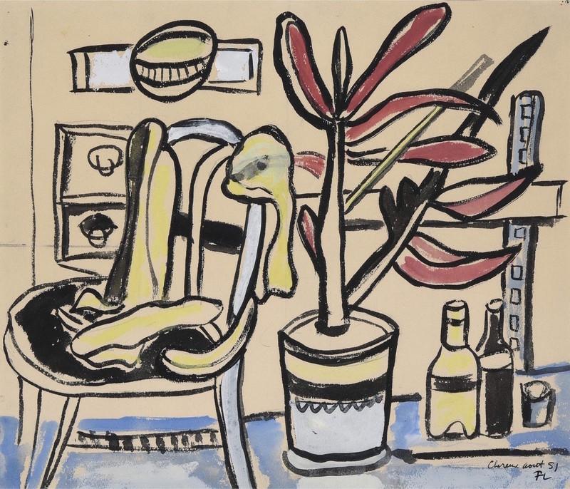 Fernand LÉGER - Drawing-Watercolor - Une chaise, pot de fleurs, deux bouteilles