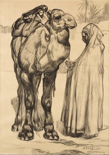 Paul JOUVE - Drawing-Watercolor - Un Chamelier de Bou-Saâda tenant son dromadaire par la bride