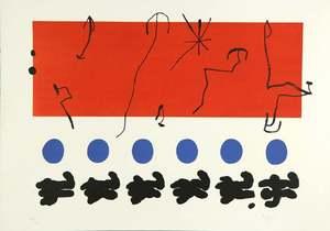 Joan MIRO - Estampe-Multiple - Ciel Rouge