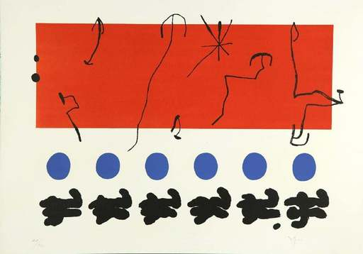 Joan MIRO - Estampe-Multiple - Ciel Rouge