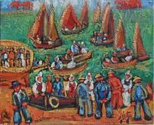 Henry Maurice D'ANTY - Pintura - Les pêcheurs au port