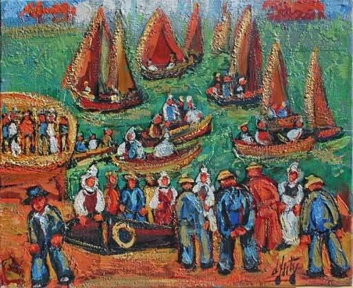 Henry Maurice D'ANTY - Pittura - Les pêcheurs au port
