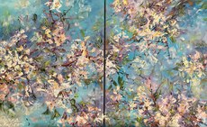 Diana MALIVANI - Painting - Blooming Almond Tree. Diptych