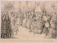 "Victor ODESCALCHI - Drawing-Watercolor - ""Masquerade of Queen Christine of Spain"""