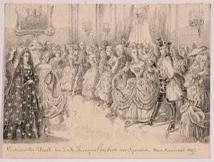 """Victor ODESCALCHI - Disegno Acquarello - """"Masquerade of Queen Christine of Spain"""""""