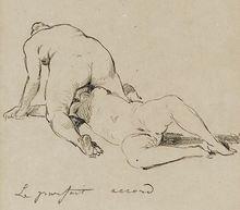 Félicien ROPS - Drawing-Watercolor - Sapho After an Herculanum low relief Circa 1892