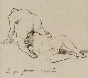 Félicien ROPS - Zeichnung Aquarell - Sapho After an Herculanum low relief Circa 1892
