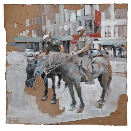 Massimo LAGROTTERIA - Painting - Horses in NY