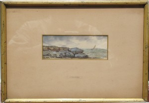 Joseph ENGALIÈRE - Drawing-Watercolor - CÔTE ROCHEUSE