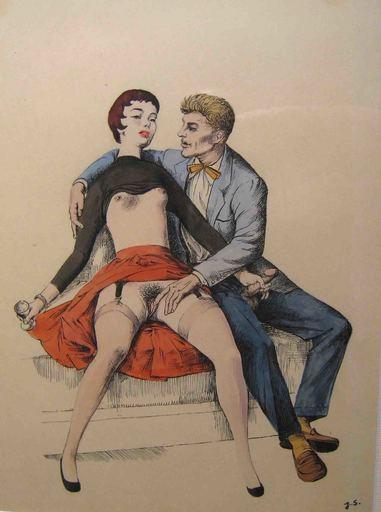 """Jerzy SKARZYNSKI - Drawing-Watercolor - """"Prémices"""""""