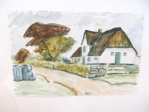Rolf DIENER - Drawing-Watercolor - Reetdachhaus am Sandweg