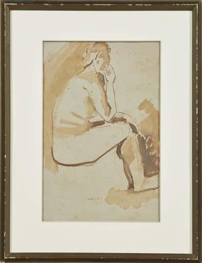 马里诺•马里尼 - 水彩作品 - Nudo di donna
