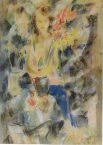 Henry SIMON - Drawing-Watercolor - Portrait de femme au bouquet