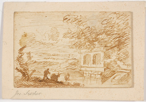 """Joseph FISCHER - 水彩作品 - """"Neoclassical landscape with staffage"""", small drawing"""