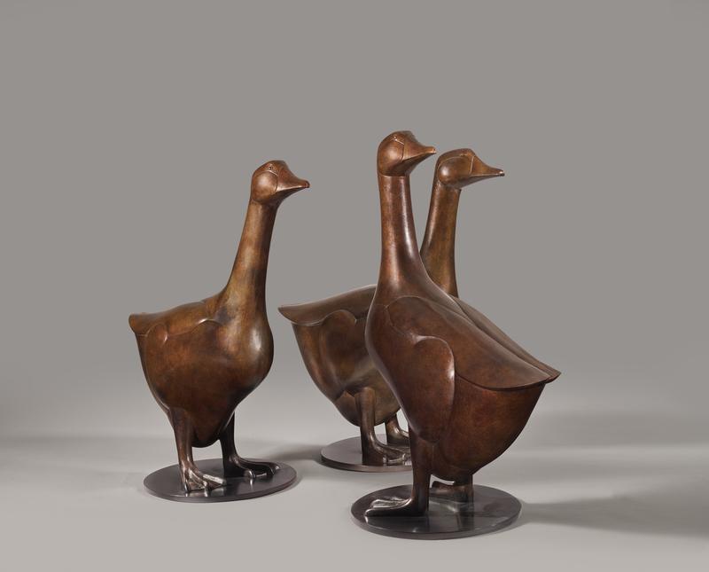 François-Xavier LALANNE - Sculpture-Volume - Les trois Oies de Sarlat, 1991