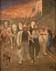 Théophile Alexandre STEINLEN - Painting - Les terrassiers revenant de leur travail