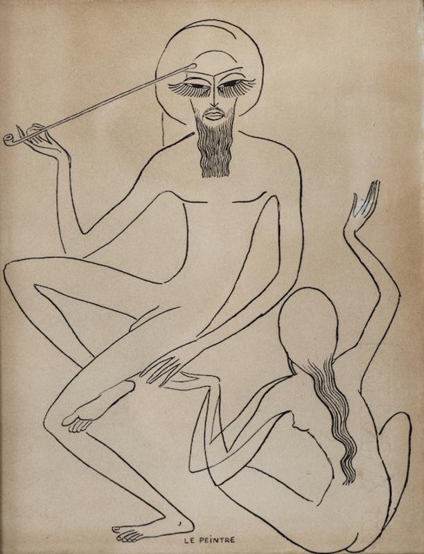 """Kees VAN DONGEN - Drawing-Watercolor - Etude pour """"Les Mille et une nuits"""""""