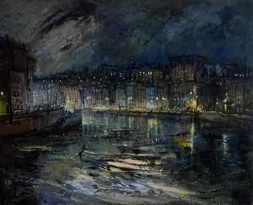 Gilbert PECOUD - Pintura - Nuit sur la Saône
