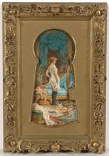 "Hans ZATZKA - Painting - ""Through the keyhole"", oil on panel, late 19th century"