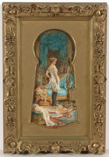 "Hans ZATZKA - 绘画 - ""Through the keyhole"", oil on panel, late 19th century"