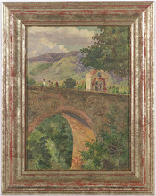 Carl WEISS - Painting - Stone Bridge, Oil Painting, ca 1900