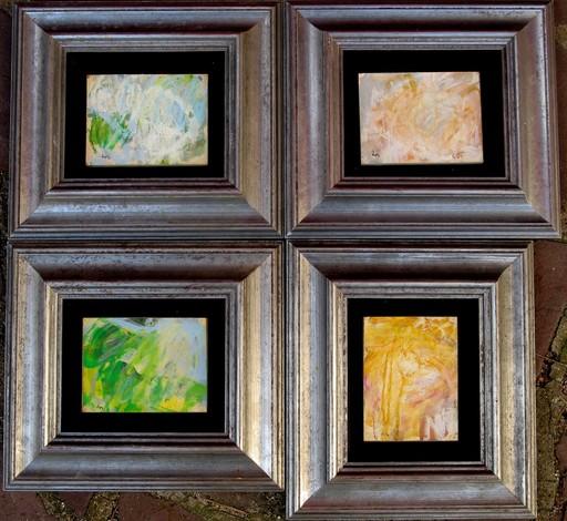 Georges ROMATHIER - Painting - ENSEMBLE DE QUATRE TABLEAUX ABSTRAITS