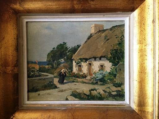 Renée CARPENTIER-WINTZ - Painting - paysanne bretonne au bord de la mer