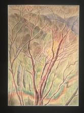 """Marie Vorobieff MAREVNA - Dessin-Aquarelle -  """"The tree over the hill – South east France"""" Circa 1948-49"""