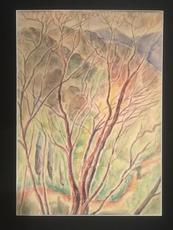 "Marie Vorobieff MAREVNA - Dessin-Aquarelle -  ""The tree over the hill – South east France"" Circa 1948-49"