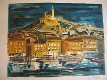 Yves BRAYER - Estampe-Multiple - Marseille: Le Vieux Port et Notre Dame de La Garde,1974.