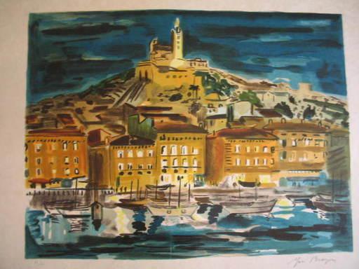 Yves BRAYER - Grabado - Marseille: Le Vieux Port et Notre Dame de La Garde,1974.