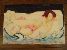 """Alain BONNEFOIT - Grabado - """"Nu aux coussins"""",1990."""