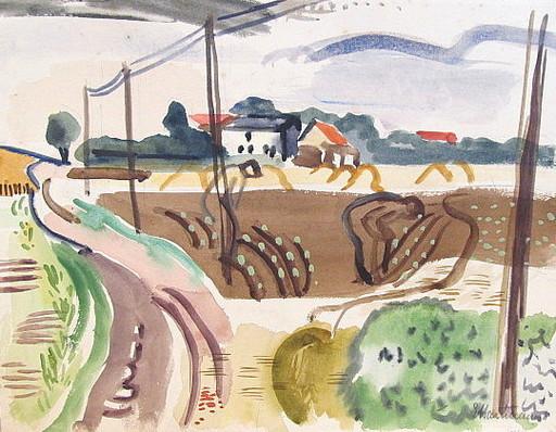 Erich HARTMANN - Dibujo Acuarela - #19941: Dorf über Feldern und Weg.