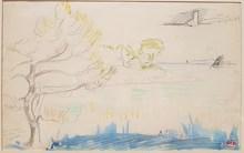 Henri Edmond CROSS - Dibujo Acuarela - Bord de mer, Méditerranée
