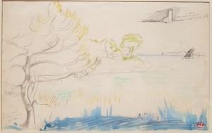 Henri Edmond CROSS - Zeichnung Aquarell - Bord de mer, Méditerranée