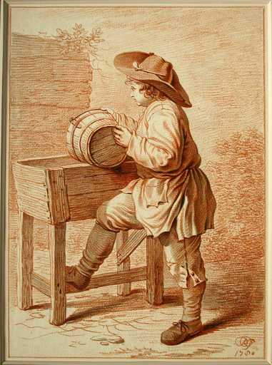 Peter Jacob HOREMANS - Drawing-Watercolor - A Boy Emptying a Bucket