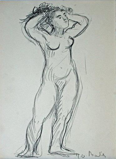 Mireille GLODEK-MIAILHÉ - Zeichnung Aquarell - Nu aux bras levés