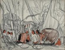 André MAIRE - Dibujo Acuarela - Marchandes asiatiques en forêt