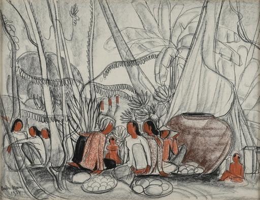 André MAIRE - Dessin-Aquarelle - Marchandes asiatiques en forêt
