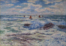 Henry MORET - Pintura - Gros temps à Doëlan. Bretagne