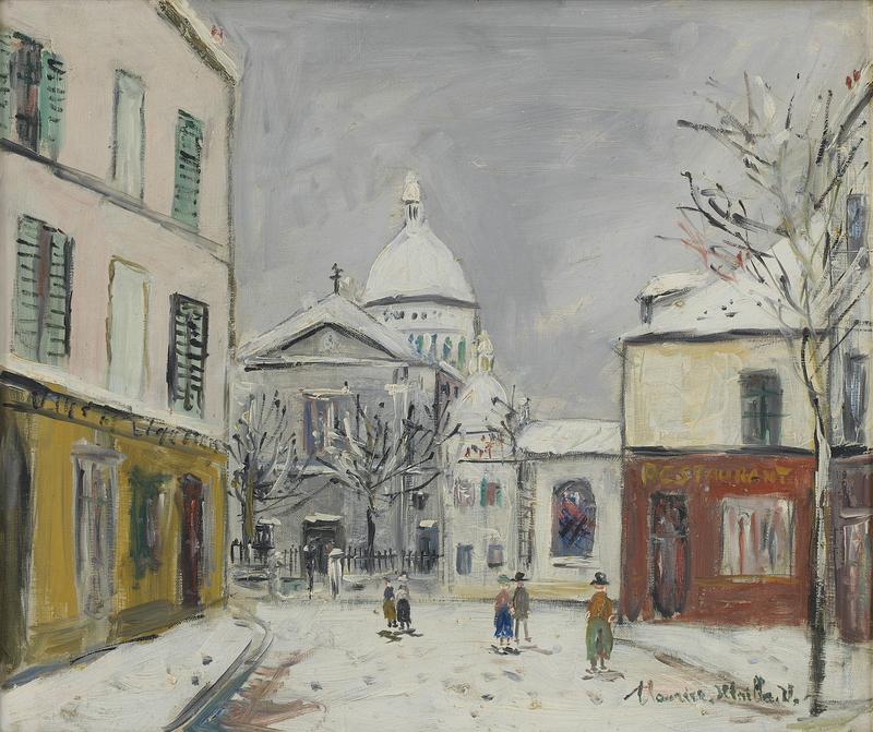 Maurice UTRILLO - Peinture - Église Saint-Pierre et Sacré-Coeur de Montmartre sous la nei