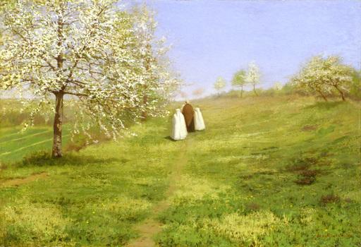 Jean Ferdinand MONCHABLON - Painting - Flowering Trees, The Communicants