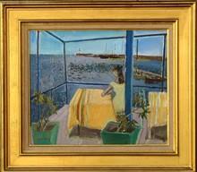 """Edouard Georges MACAVOY - Painting - """"JEUNE FILLE A LA TERRASSE SAINT-RAPHAËL"""""""