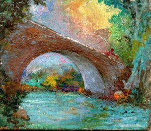 Paolo SALVATI - Pittura - Ponte sul fiume
