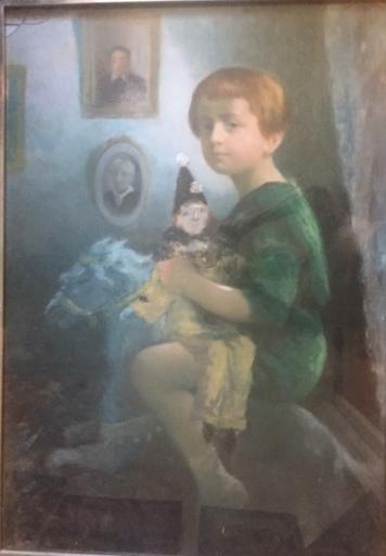 Nicolae GROPEANU - Disegno Acquarello - enfant cheval de bois