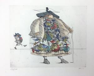 Paul FLORA - Druckgrafik-Multiple - Ein Vogelhändler