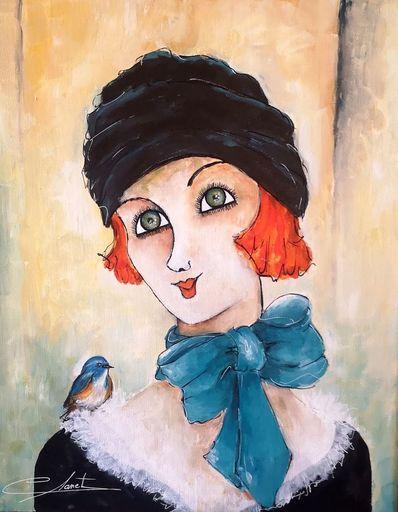Véronique CLANET - Pittura - LE FOULARD BLEU