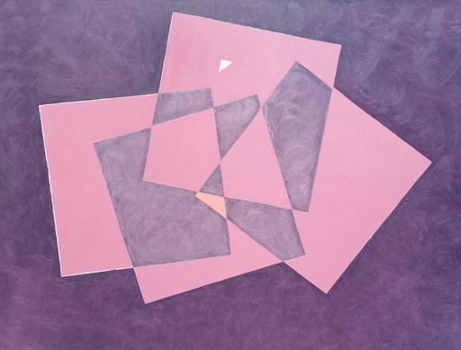 Marcel CALOÏAN - Gemälde - Carrés roses sur fond violet