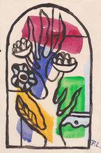 Fernand LÉGER (1881-1955) - Projet de vitrail pour l'église de Courfaivre